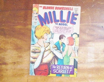 Vintage 1966 Marvel Comic Millie the Blonde Bombshell Collectible Paper Ephemera Paper and Arts Crafts