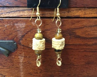Fossil Crinoid Earrings with Tiger Eye Beads