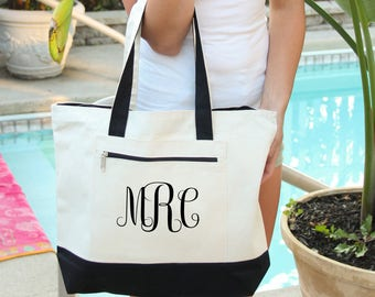 Monogram  Bag, Heavy tote bag,  zippered main compartment,  Heavy canvas, Carryall, Monogram tote, Personalized Monogram Bag, tote bags,