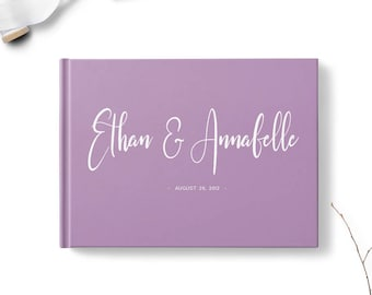 Wedding guestbook, Calligraphy wedding guest book, Landscape, Gold silver copper or rose gold foil, Blank or lined, Various colors gb0142