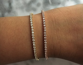 SKINNY B Slim Crystal Gold / Rose Gold / Platinum Stacking Stackable Layering Tennis Bracelet