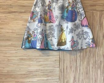 Shabby Paris skirt-Victorian era print-toile style-boho chic-scrappy details-repurposed clothing Sz M