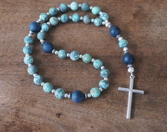 Christian Rosary featuring matte gemstone beads, African Turquoise Jasper and Blue Denim Stone (203S)
