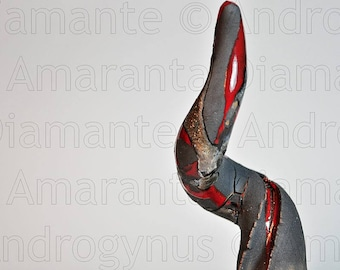 Androgynus Horn Decoration Vulcano-enamels fused with Matt Black, oxidized and red silver, CM14