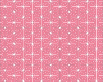 "Stof - Avalana - 63"" Wide Jersey Knit - Geometric Flower - Coral Pink - Fabric by the Yard ST19-357"