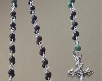 Garnet & Emerald Rosary