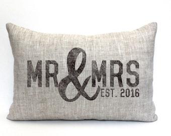 "wedding gift, mr and mrs pillow, wedding shower gift, bridal shower, name pillow, gift for her  - ""The Mr. & Mrs."""