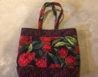 100% cotton fabric, machine quilted, lined, handmade tote bag.