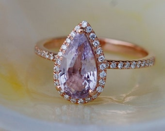 reserved- Champagne sapphire engagement ring. Rose gold engagement ring 1.76ct pear cut sapphire ring.