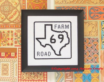 Texas Cross Stitch Pattern - Farm Road Sign PDF