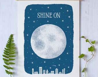 Shine On Moon Print | Moon Print | City Print | Night Sky Print | City Skyline Print