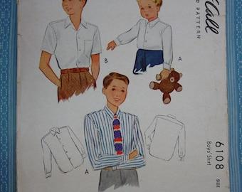 Vintage Pattern c.1945 McCall No.6108 Boys Shirts, Size 6