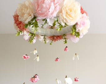 Floral Mobile, Baby Mobile, Boho Mobile, Shabby Chic Mobile, Peach and Cream Mobile, Dusty Rose, Crib Mobile, Nursery Mobile, Girl Mobile