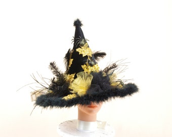 Elegant Witch Hat, Gold and Black Witch Hat, Halloween Costume, Witch Costume, Witch Decor, Black Witch Hat, Halloween Decoration