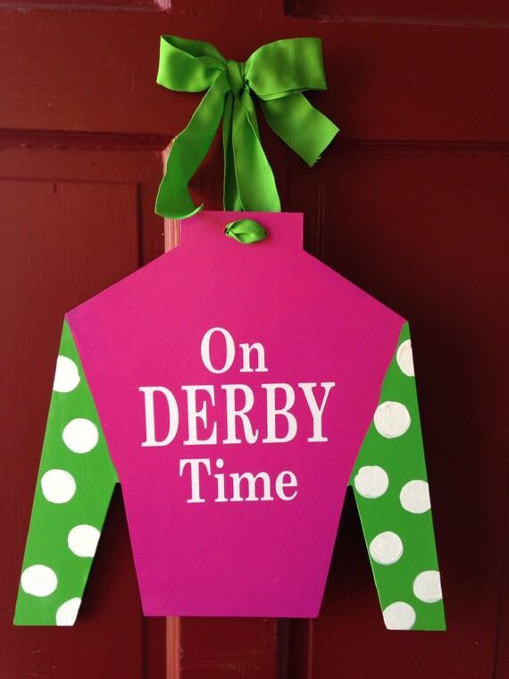 Jockey Silk door hanger, hand painted and personalized derby gift, derby door hanger, horse farm door hanger,  wood jockey silk, wall hanger