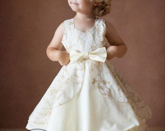 Kinley's Cascading Flounce Top & Dress. PDF sewing pattern for toddler girl sizes 2t - 12.