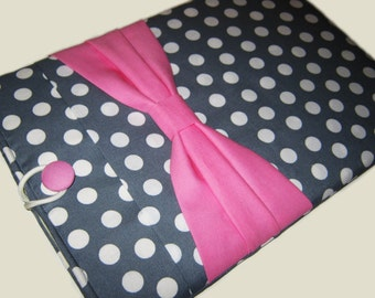 "11"" HP Chromebook case, Lenovo IdeaPad case, Acer Chromebook 11"" sleeve, 11"" Laptop sleeve, Computer Case, Gray Polka Dots w/ Pink Bow"