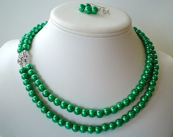 Two Strand Christmas Green Pearl with Rhinestone Flower Pendant Beaded Necklace and Earring Set    Great Brides or Bridesmaid Gifts