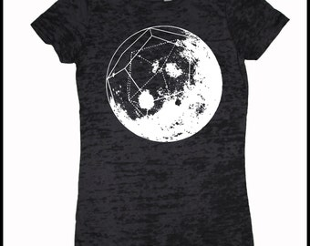 Women's GeoMoon Dodecahedron Full Moon Sacred Geometry Space Burnout Tee