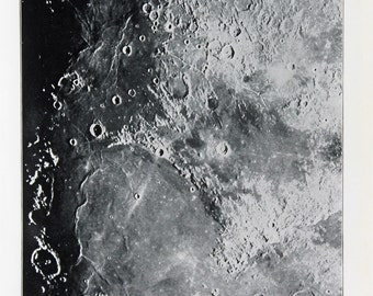 Antique Moon Print, Astronomy Print -  The Moons Surface, Craters, Astronomical Print c. 1900