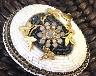 Vintage  Jeweled Beaded  Filigree Trinket Egg Box  #RB