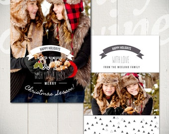 Christmas Card Template: Chalkboard Christmas B - 5x7 Holiday Card Template for Photographers