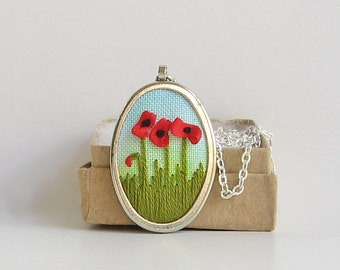 Red poppies necklace, ribbon embroidered flower jewelry, silk ribbon embroidery, August birthday gift, botanical necklace