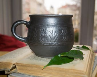 """Large coffee mug """"Long Night"""", large coffee mug, large mug, pottery mug"""