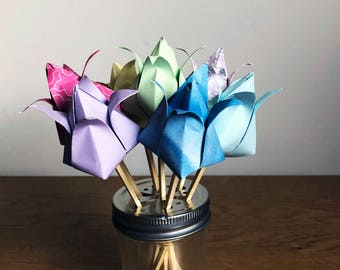 Tulip Bouquet - 7x Tulips, Pastel Rainbow, Blues, Purples, Pink, Yellow, Green