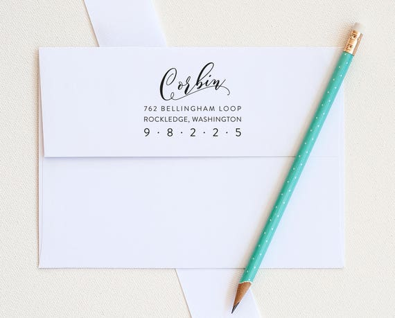 Address Stamp, Return Address Stamp Custom Address Stamp Personalized Address Stamp Calligraphy Address Stamp personalized gift eco friendly