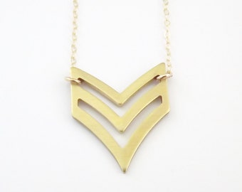 Gold Chevron Necklace Military