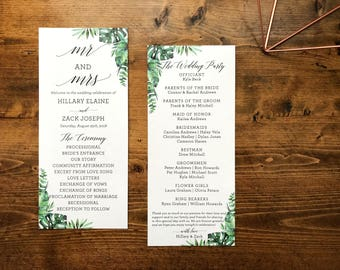 Tropical Wedding Program Printable | Botanical Tropical Wedding Program | Customized Wedding Program