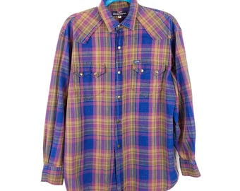 90s Guess by Georges Marciano Shadow Plaid Long Sleeve Snap Down Shirt, Men's Medium