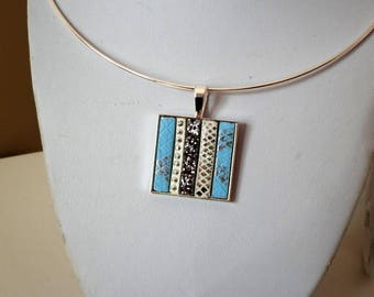 square pendant 25 X 25 mm, leather necklace