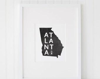 Atlanta Georgia Printable Art, Atlanta Art, Georgia Art, Art Print, Wall Poster, Printable Atlanta Art, Typography Art, Black and White