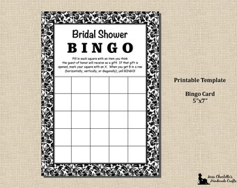Bridal Shower Bingo Game- 5x7 - Black and White Damask - Instant Download - Printable Digital Template PDF