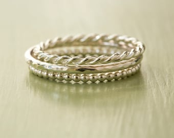Sterling Silver Stacking Ring Set - Set of 3 Stacking Rings - Twist Ring - Hammered Ring - Beaded Ring - Delicate Ring - Stacking Bands