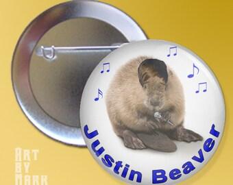 Justin Beaver Funny  Pinback Button