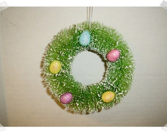 "Easter Bottle Brush Wreath Ornament w/battery operating candle/ 4"" wide/ Fake Snow /Holiday Decor/Supplies*"