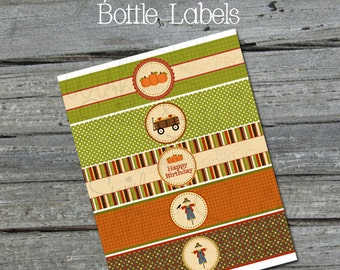 Fall Harvest Autumn Water Bottle Labels Wraps - Harvest Festival - Apples - Scarecrow  - Birthday Party Cake - INSTANT DOWNLOAD