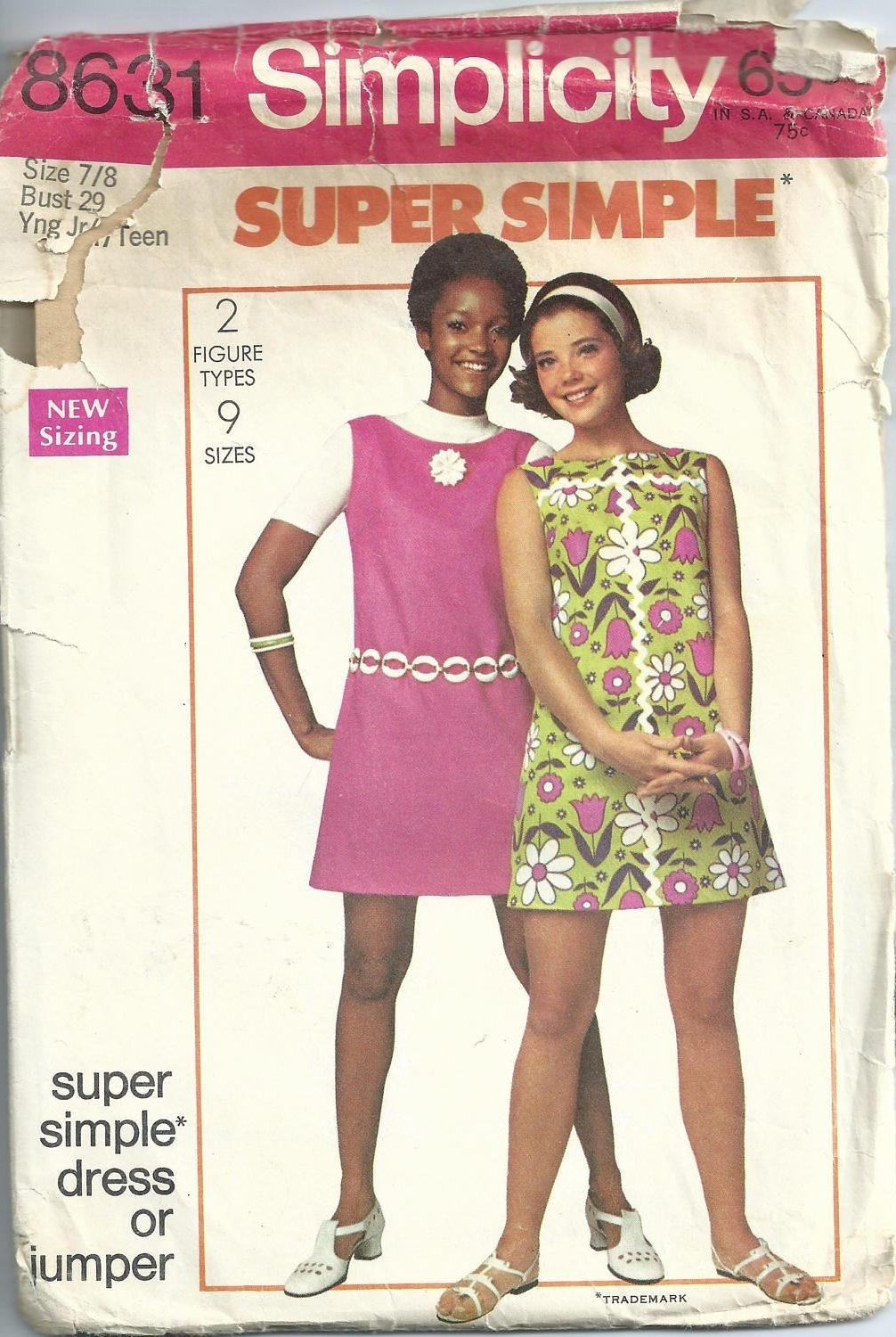 86e7341f695e1 Simplicity Sewing Pattern Vintage 8631 Young Junior Teen Super Simple Mini  Dress Jumper Size 7/8 Bust 29 Used 1969 from CadysCreativeStudio on Etsy  Studio