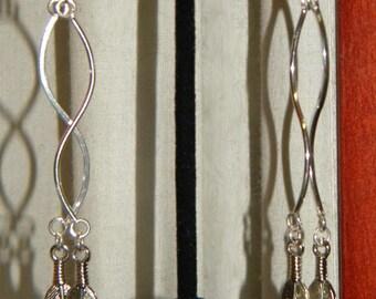Silver, Feather, Earrings, Boho Earrings, Hippie Earrings, Long Earrings