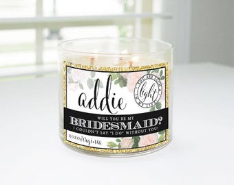 Will You Be My Bridesmaid? Custom Candle Label (Black & Gold) - Bridesmaid Proposal, Maid of Honor, Matron of Honor