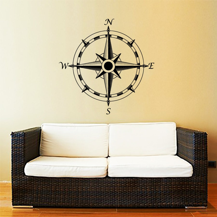 wand aufkleber nautischer kompass compass rose navigieren. Black Bedroom Furniture Sets. Home Design Ideas