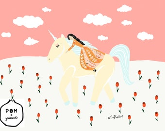 Roaming with Unicorn Art Print