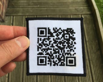 QRCODE Custom made embroidered Patch Badge Barcode Wearables