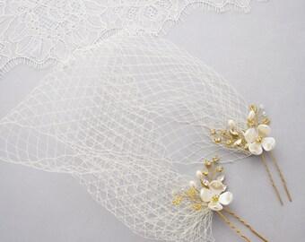 Wedding Veil, Birdcage Veil, Bridal Headpiece, Bandeau veil, Short Veil, Wedding Hair Piece, Weding Fascinator, Vintage Veil, Veil Headpiece