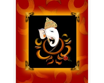 Hindu Spiritual Art: Ganesh Print Poster. East Indian Style (Tanjore Painting) Poster, Spiritual Decor