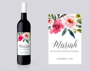 Personalized Maid of Honor Ask Wine Label. Bridesmaid Proposal Wine Labels. Maid of Honor Proposal Wine Labels. Personalized Maid of BM21B
