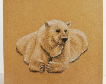 Recycled Kraft, Animal Note Card, Polar Bear, Unique Birthday Card, Cute blank, note card, thank you card, holiday, nature, handmade card